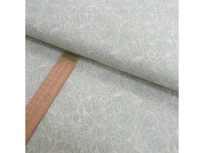 Bavlněné plátno - Květiny šedo-zelené - šíře 150cm/1bm