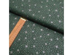Bavlněné plátno - Tmavě zelená a stříbrné hvězdy - šíře 140cm/1bm