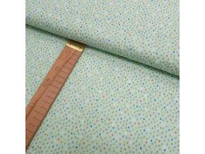Bavlněné plátno -  Puntíčky na světle zelené - šíře 150cm/1bm