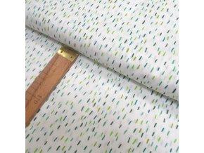 Bavlněné plátno - Zelené a tyrkysové čárky na bílé - šíře 150cm/1bm