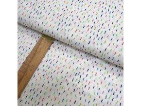 Bavlněné plátno - Barevné čárky na bílé - šíře 150cm/1bm