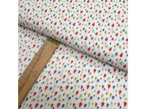 Bavlněné plátno - Barevné kapky na bílé - šíře 150cm/1bm