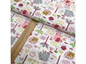 Bavlněné plátno - Zvířátka růžová, šedá - šíře 150cm/1bm