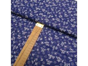 Bavlněné plátno - Bílé květy na modrébílé - šíře 140cm/1bm