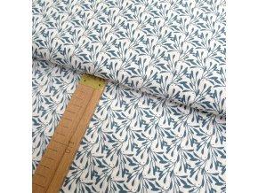 Bavlněné plátno - Jmelí modré na bílé - šíře 150cm/1bm