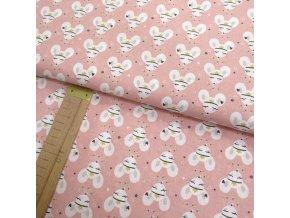 Bavlněné plátno - Myšky s čelenkou na růžové - šíře 150cm/1bm