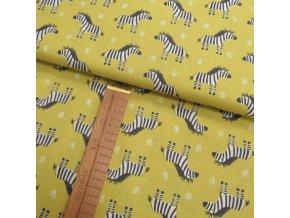 Bavlněné plátno - Zebry na žluté - šíře 150cm/1bm