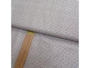 Bavlněné plátno - Kolečka - šedá, bílá - šíře 160cm/1bm