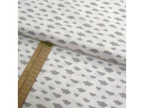 Bavlněné plátno - Mráčky šedé na bílé  - šíře 150cm/1bm