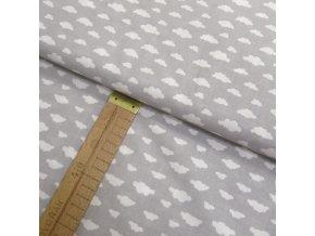 Bavlněné plátno - Mráčky bílé na šedé  - šíře 150cm/1bm