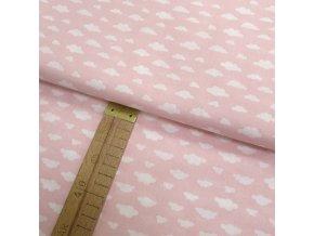 Bavlněné plátno - Mráčky bílé na růžové - šíře 150cm/1bm