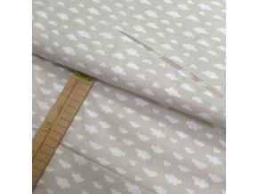 Bavlněné plátno - Mráčky bílé na béžovo-šedé - šíře 150cm/1bm