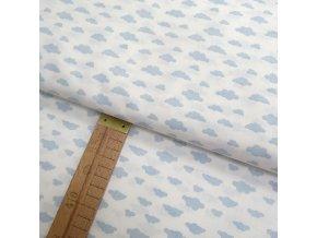 Bavlněné plátno - Mráčky modré na bílé  - šíře 150cm/1bm