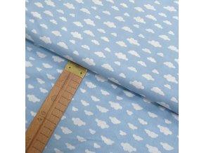 Bavlněné plátno - Mráčky bílé na modré - šíře 150cm/1bm