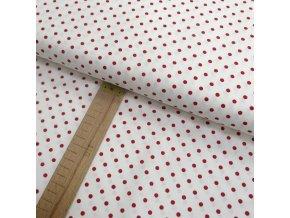 Bavlněné plátno - Červený puntík na bílé - šíře 150cm/1bm