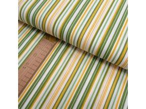Bavlněné plátno - Pruhy žlutá, zelená, bílá  - šíře 150cm/1bm