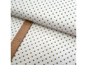 Bavlněné plátno - Zelený puntík na bílé - šíře 150cm/1bm