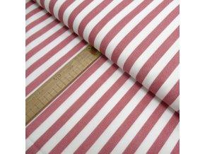Bavlněné plátno - Pruh červený na bílé - šíře 150cm/1bm