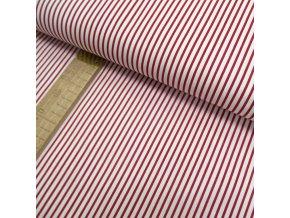 Bavlněné plátno - Pruh úzký červený na bílé - šíře 150cm/1bm