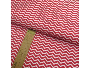 Bavlněné plátno - Chevron červená, bílá - šíře 150cm/1bm