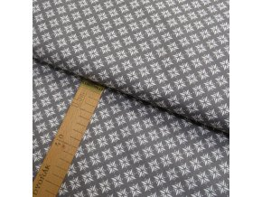 Bavlněné plátno - Hvězdy bílé na šedé - šíře 140cm/1bm