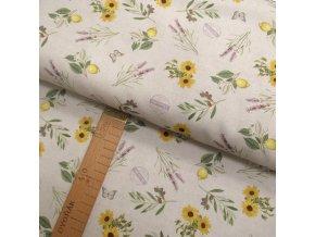 Potahové bavlněné plátno - slunečnice - šíře 140cm/1bm
