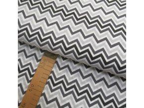 Bavlněné plátno - Chevron bílá, šedá, černá - šíře 150cm/1bm