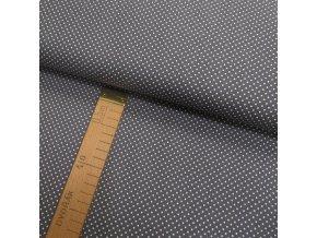 Bavlněné plátno - Puntík na tmavě šedé - šíře 150cm/1bm