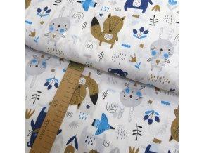Bavlněné plátno - Zvířátka modrá, šedá, hnědá na bílé - šíře 160cm/1bm