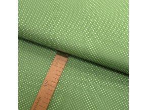 Bavlněné plátno - Puntík bílý na zelené - šíře 150cm/1bm