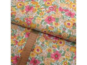 Bavlněné plátno - Květiny žluté, ibišky růžové na bílé - šíře 150cm/1bm