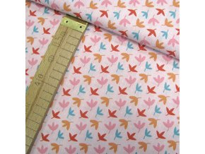 Bavlněné plátno - Listy na růžové - šíře 160cm/1bm