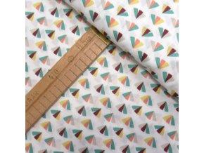 Bavlněné plátno - Vějířky na bílé - šíře 160cm/1bm