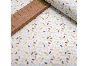 Bavlněné plátno - Rýže modrá, žlutá na bílé - šíře 160cm/1bm