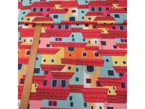 Bavlněné plátno - Barevné domy - šíře 160cm/1bm