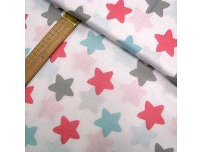 Bavlněné plátno - Hvězdy na bílé - šíře 140cm/1bm