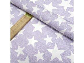 Bavlněné plátno - Hvězdy bílé na lila - šíře 140cm/1bm