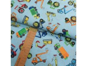 Bavlněné plátno - Bagry, traktory na modré - šíře 140cm/1bm