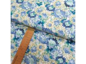 Bavlněné plátno - Modré květy - šíře 140cm/1bm