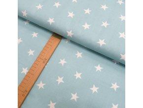 Bavlněné plátno - Hvězdy bílé na mátovo-šedé - šíře 150cm/1bm