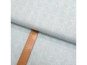 Bavlněné plátno - Květiny krajka mátovo-šedé na bílé - šíře 150cm/1bm