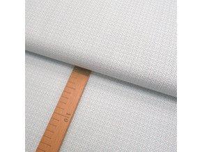 Bavlněné plátno - Ornament mátovo-šedý na bílé - šíře 150cm/1bm