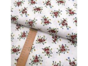 Bavlněné plátno - Květiny na bílé - šíře 150cm/1bm