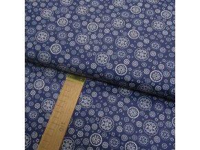 Bavlněné plátno - Mandalky na temně modré - šíře 140cm/1bm
