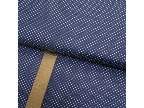 Bavlněné plátno - Puntík bílý na temně modré - šíře 140cm/1bm