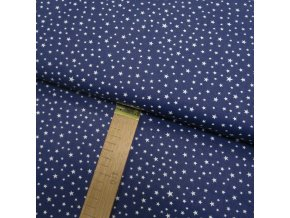 Bavlněné plátno - Hvězdy bílé na temně modré - šíře 140cm/1bm