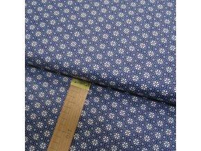 Bavlněné plátno - Květy a kroužky bílé na temně modré - šíře 140cm/1bm