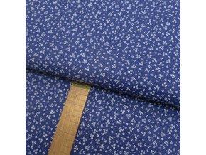 Bavlněné plátno - Květy bílé na modré - šíře 150cm/1bm