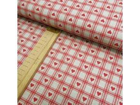 Bavlněné plátno - Červená srdíčka a kostky na béžové lněné půdě - šíře 150cm/1bm