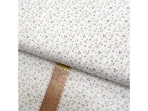 Bavlněné plátno - Květy béžové na bílé - šíře 150cm/1bm